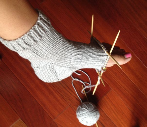 cotton sock in progress
